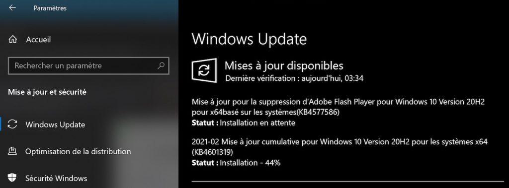 Mise A Jour Windows 10 Supprime Flash Player KB4577586