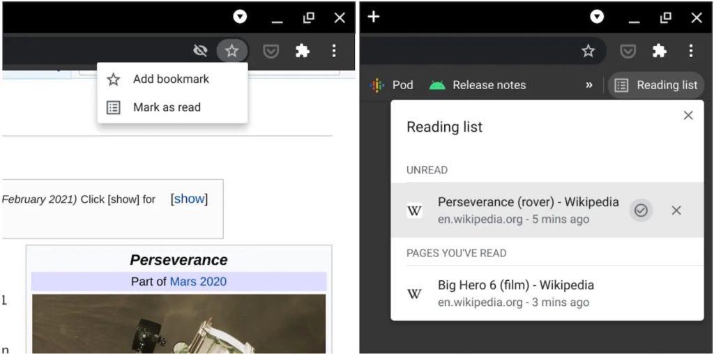 Chrome 89 Liste de Lecture