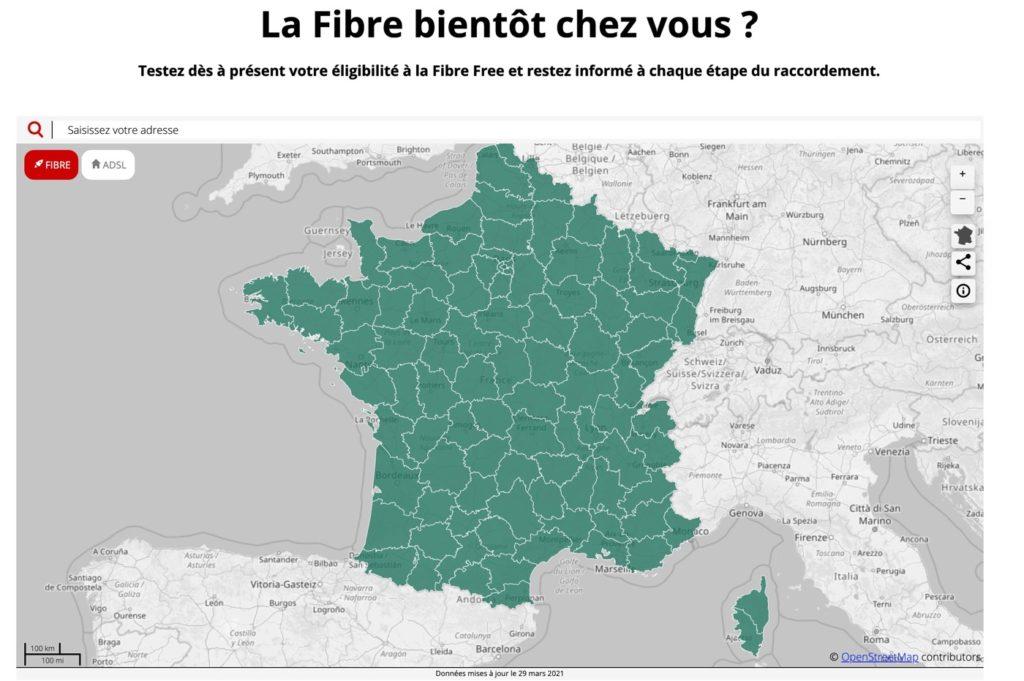 Free : la carte d'éligibilité à la fibre se met à jour désormais quotidiennement
