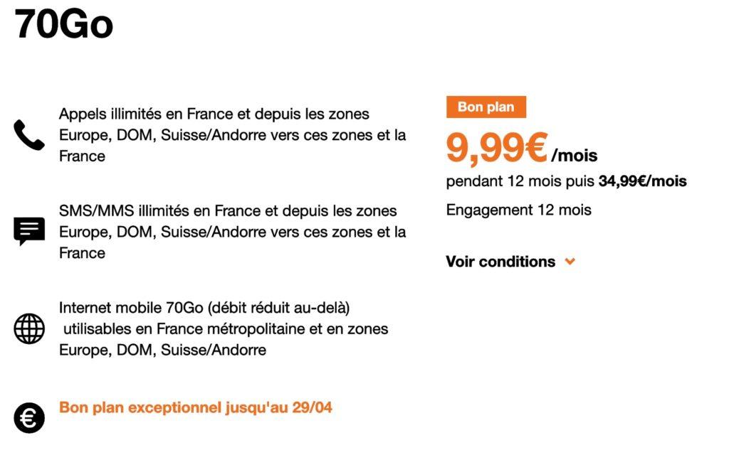 Orange Forfait 70 Go Orange 9.99 Euros