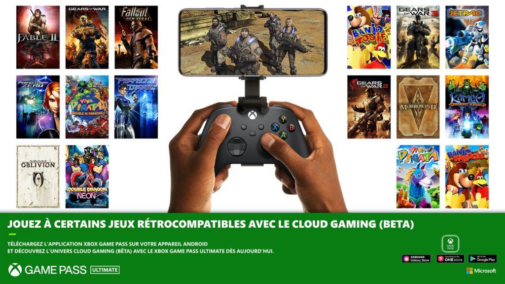 xCloud Jeux Retrocompatibles