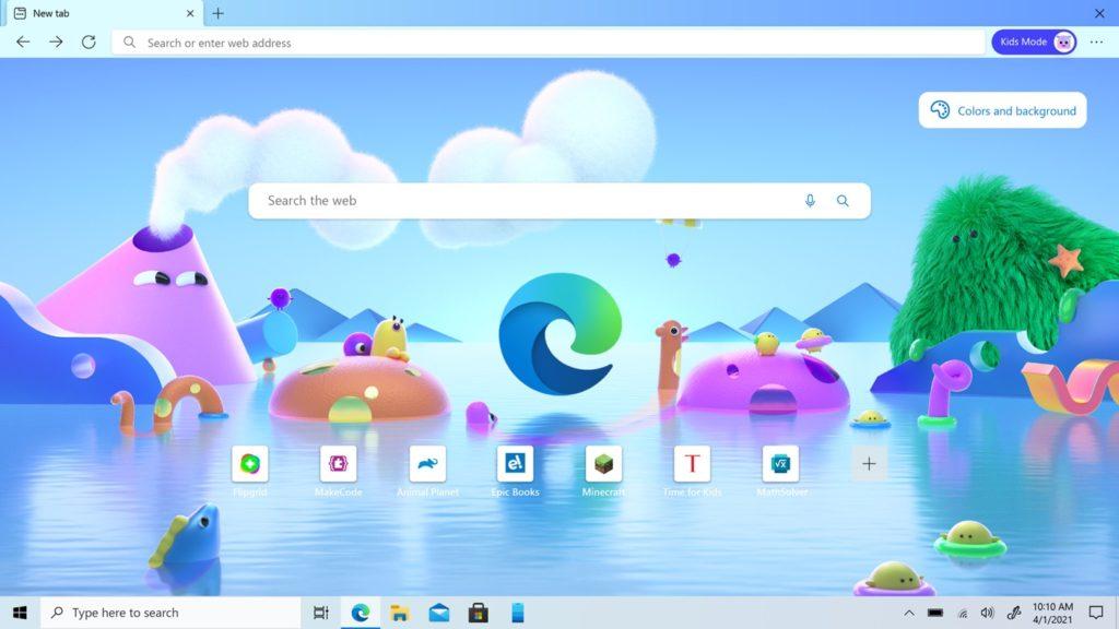 Microsoft Edge 90 Mode Enfants