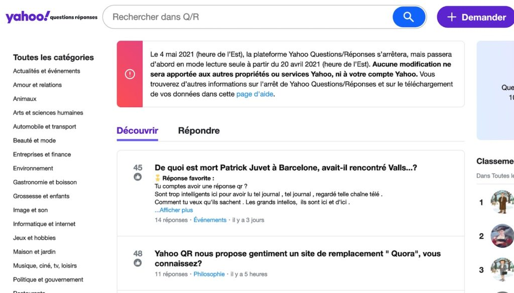Yahoo Questions Reponses Fermeture