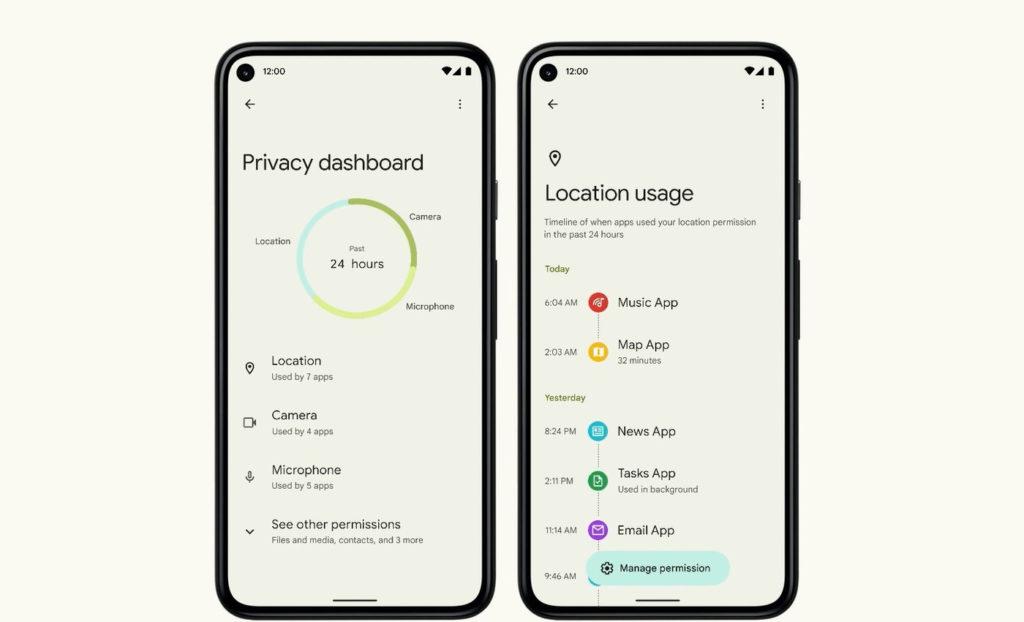 Android 12 Tableau de Bord Vie Privee