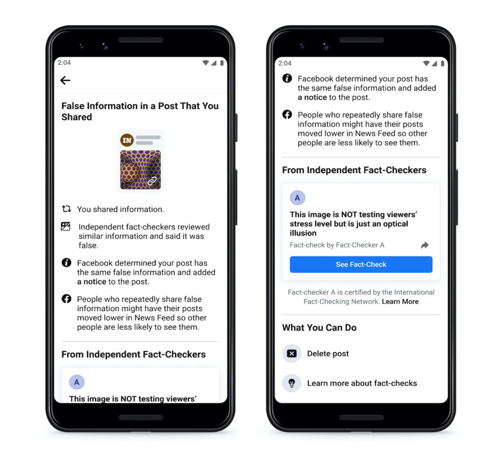 Facebook Fausse Information Indication