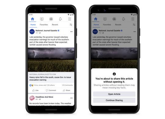 Facebook Pop-Up Partage Article Sans Lire