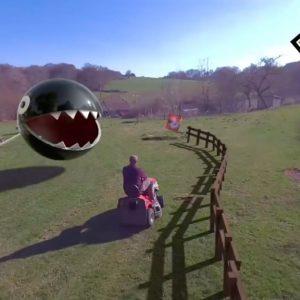 Image article Tondeuse à gazon + «incrust» 3D = un hommage champêtre et dingo à Mario Kart