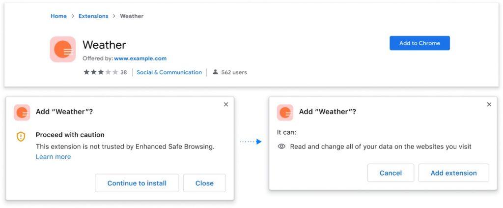 Chrome Alerte Confiance Extension