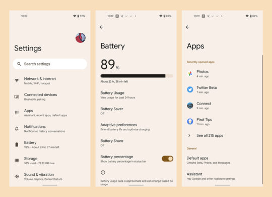 Android 12 Nouvelle Interface Reglages