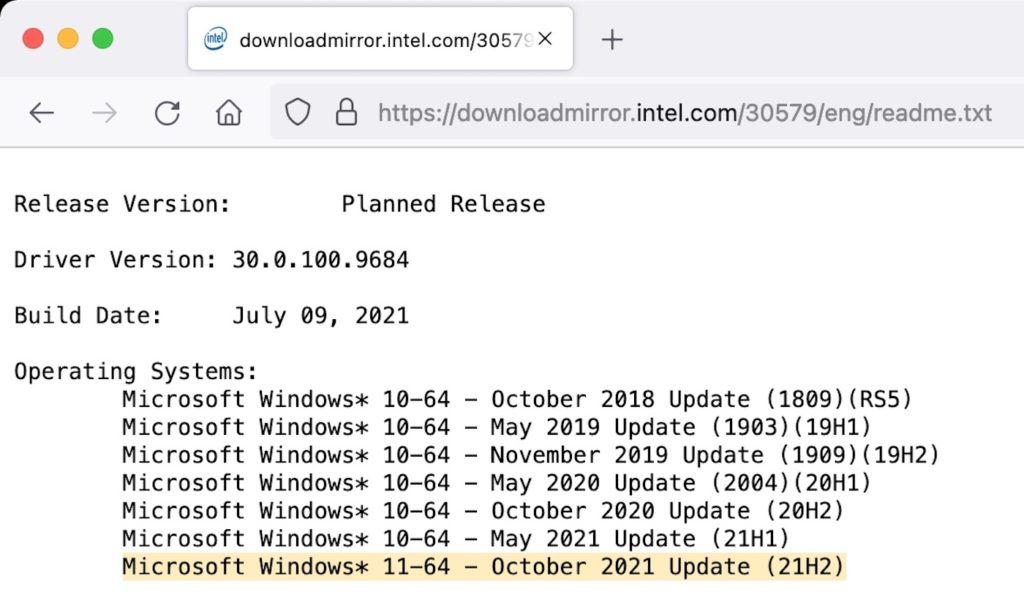 Windows 11 Intel Sortie Octobre