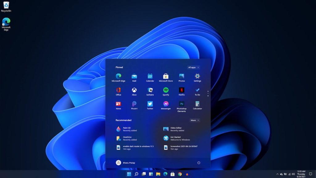 Windows 11 Menu Demarrer Sombre