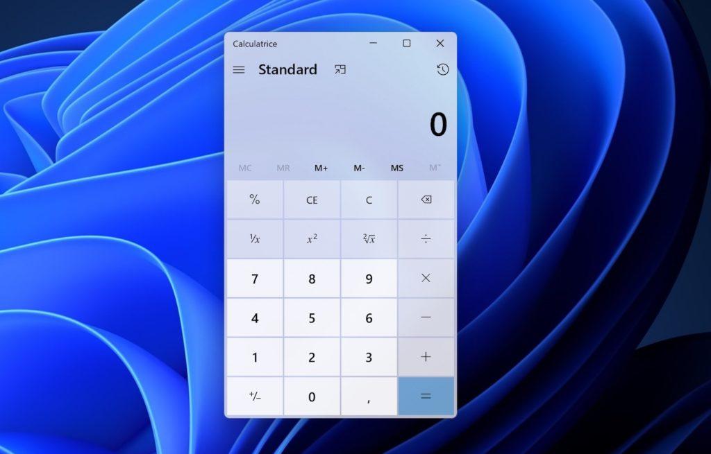 Windows 11 Application Calculatrice
