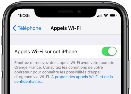 Appels WiFi iPhone