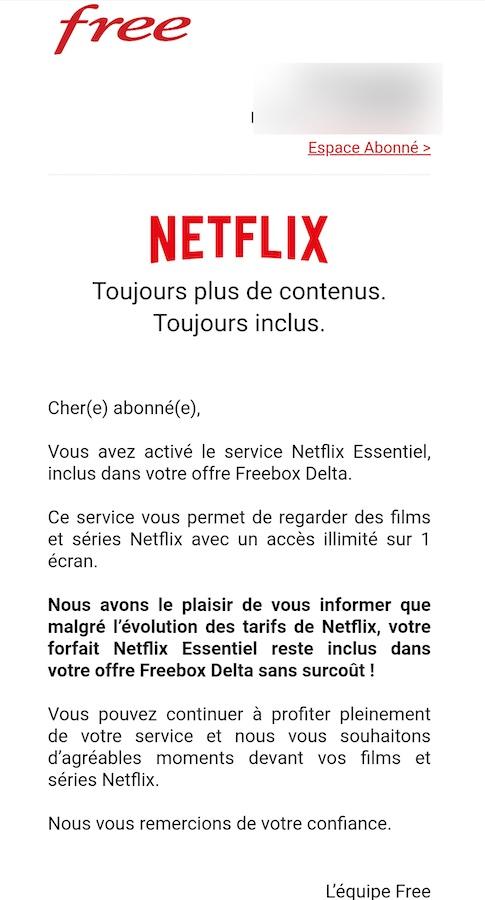 Email Free Netflix Hausse Prix freebox