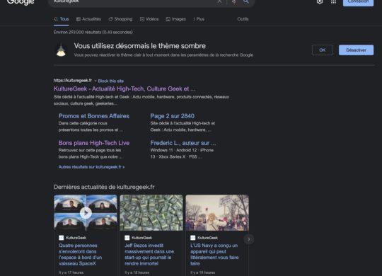 Google Moteur Recherche Mode Sombre