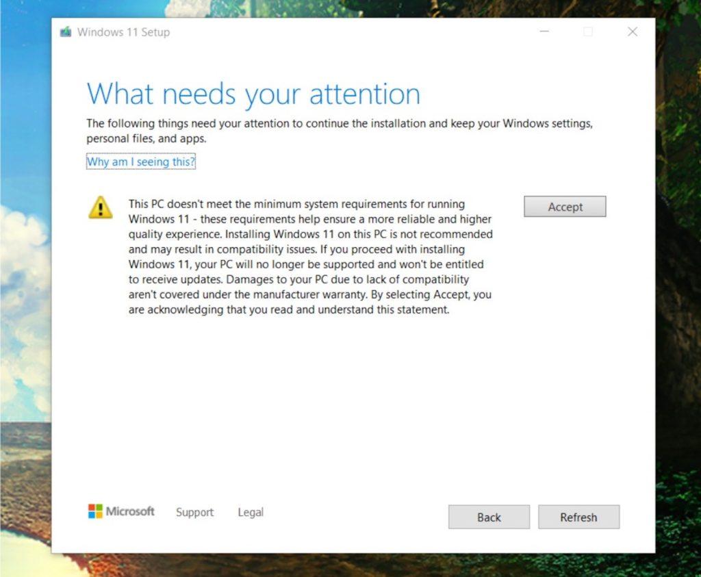 Windows 11 Message Renoncer Mises A Jour PC Non Supporte