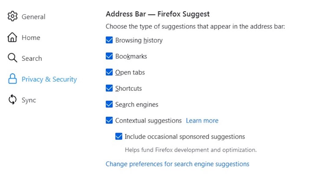 Firefox Barre Adresse Publicites Suggestions Sponsorisees Reglage