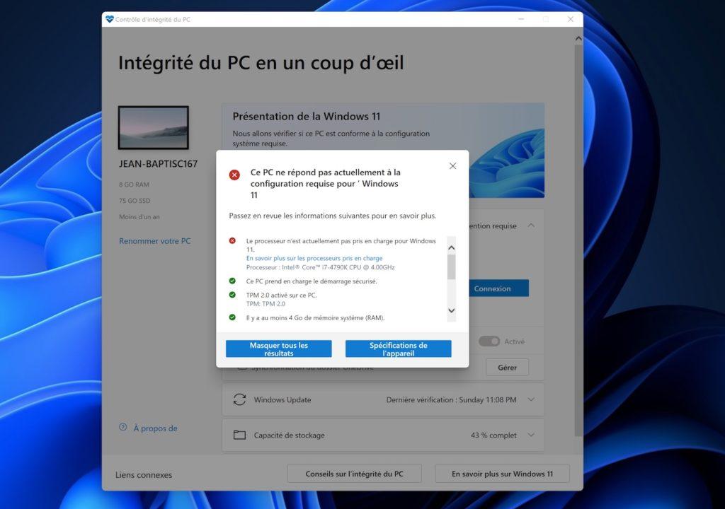Outil Compatibilite Windows 11