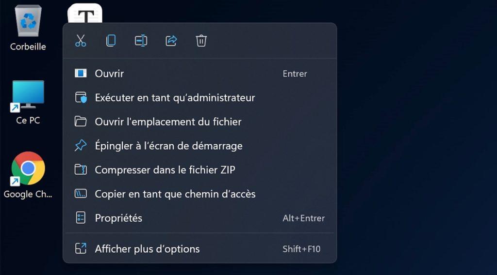 Windows 11 Menu Contextuel